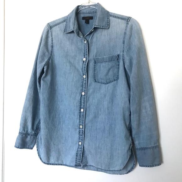 J. Crew Tops - J. Crew Long Sleeve Chambray Button Down Shirt